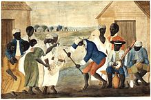 """Slave dance to banjo, 1780s"" by Anonymous -"