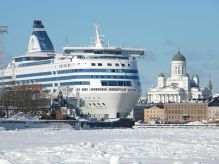 """Silja Symphony and icy sea lane South Harbor Helsinki Finland"" by Pöllö"