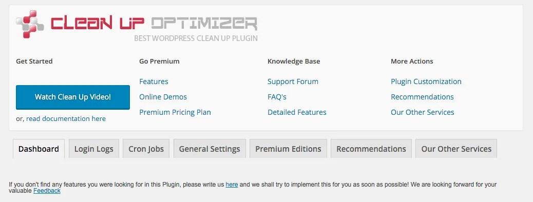WP Clean Up Optimizer WordPress Plugin Screenshot