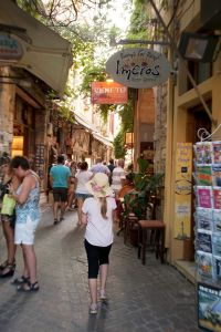 Chania's winding shopping alleyways - @World Travel Mama