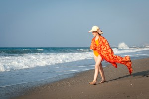 Rethymno, Misiria Beach - my Little One in her sarong - @World Travel Mama