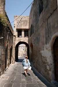 winding walkways in Rhodes Old Town -@World Travel Mama