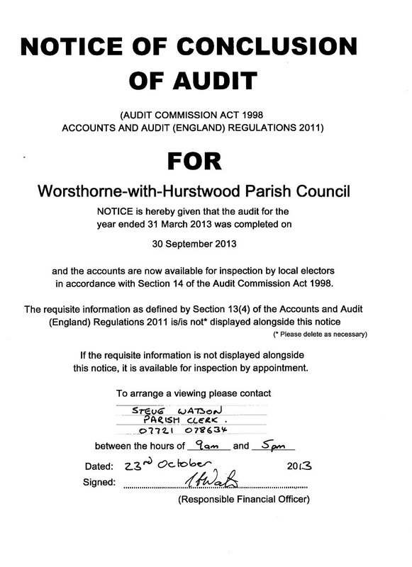 Audit Reports - Worsthorne with Hurstwood Parish Council - audit reports