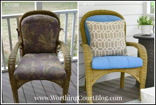Waterproof outdoor cushions painted with chalk paint