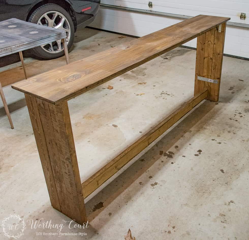 How to build a rustic sofa console table