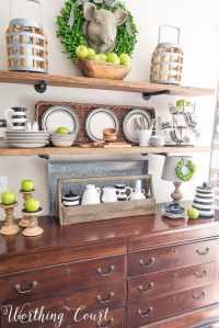 Late Summer | Early Fall Farmhouse Open Kitchen Shelves ...