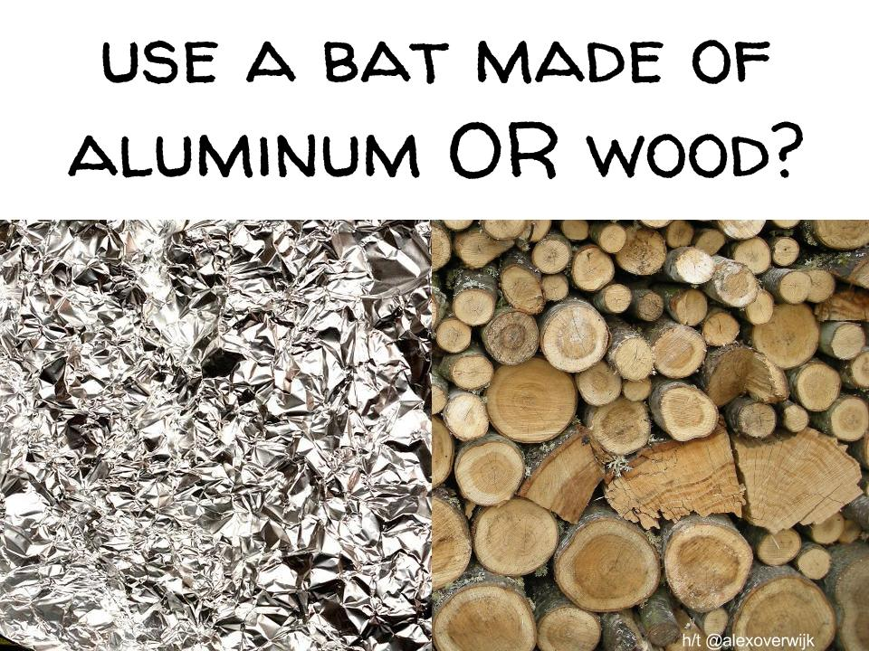 wood bats vs aluminum bats essay Njit professor tests bats: which is safer -- aluminum or wood visit the department of physics highlander baseball watch a video of the bats experiment on youtube some new jersey towns have banned little league hitters from using aluminum bats.