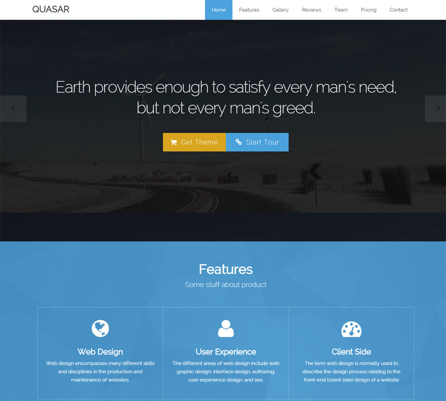 Quasar - Free One Page HTML Bootstrap Template Wow Themes