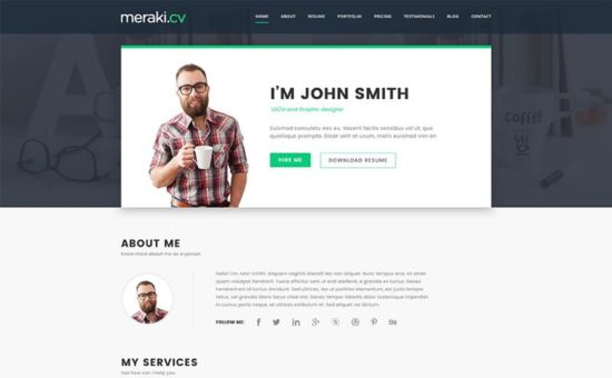 Meraki One Page Resume WordPress Theme - WPExplorer - resume wordpress theme