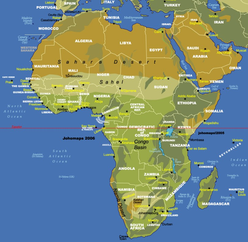 Africa Map Deserts Africa Physical Map