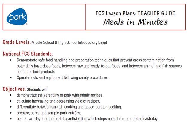 Family and Consumer Science Lesson Plans - Wisconsin Pork