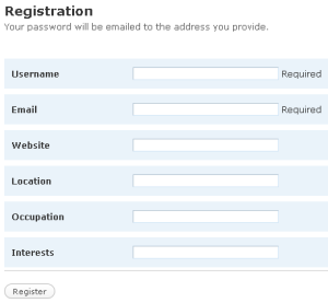 WordPress.org Registration Form