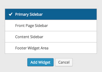 Widgets Area Chooser