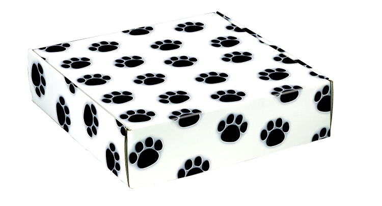 Paw Prints Autolock Gift Boxes, 12in x 9in x 3in, 2 boxes - box prints