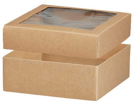 602845 - Kraft Window Gift Box with Window Lid - 6\ - large gift boxes with lids