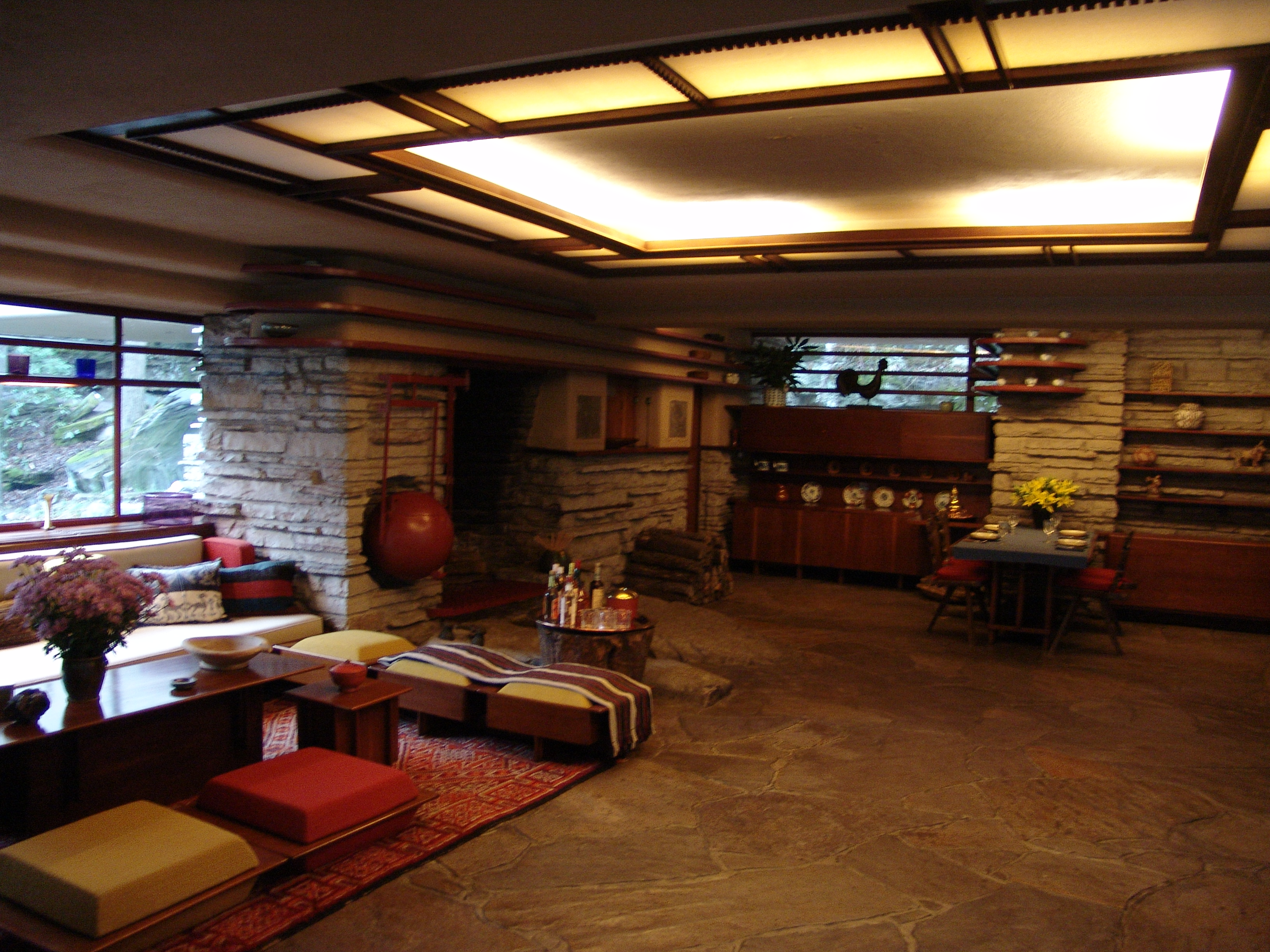 Fallingwater Living Room And Dining Area Frank Lloyd Wright