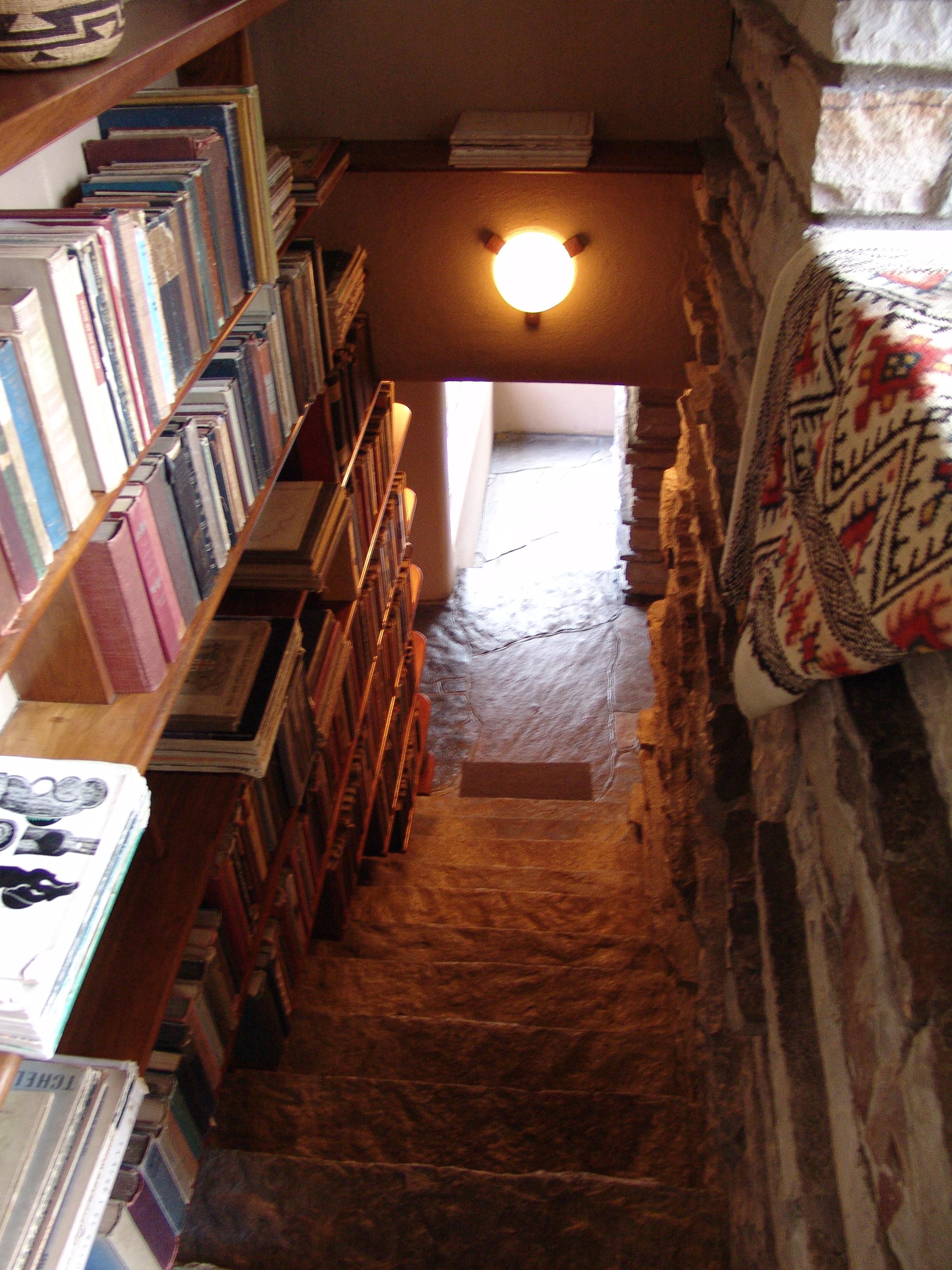 Fallingwater House Third Floor Stair With Bookshelves