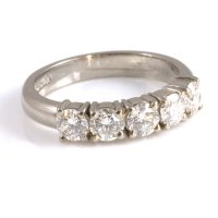 18ct White Gold Claw Set Diamond Half Eternity Ring - from ...