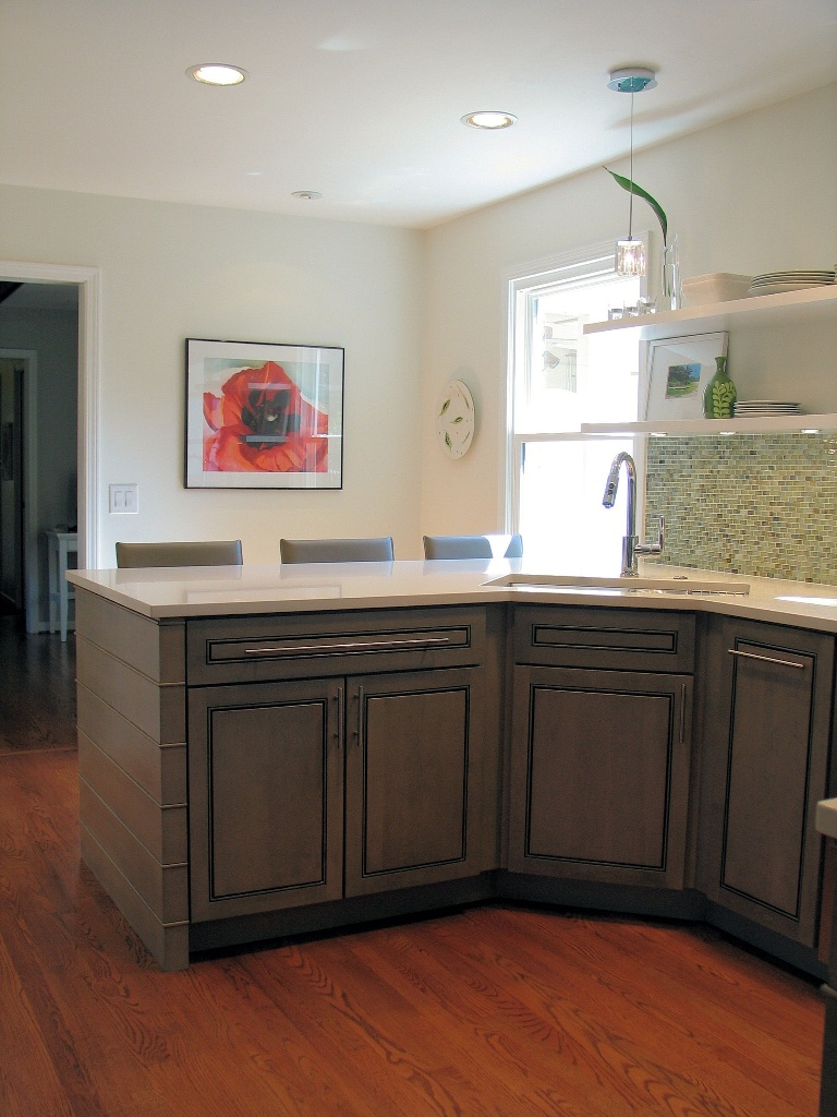 Carmel Kitchen Design and Remodel Angled Corner Sink Ceasarstone Nougat Counter