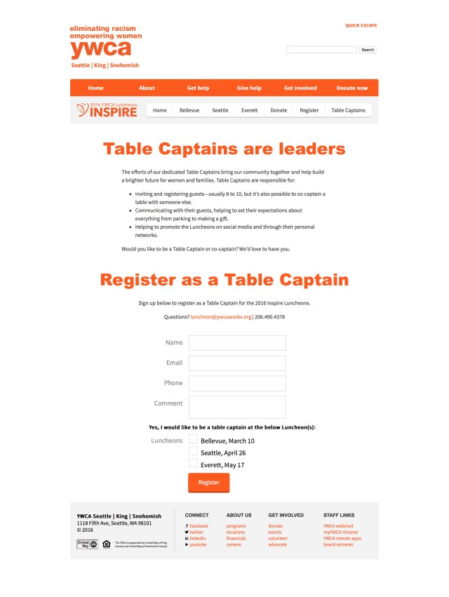 Table Captain Renewal - YWCA Seattle King Snohomish