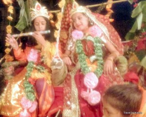 Kids dressed as Rdha, Krishna and Gopi all set in their new avatar