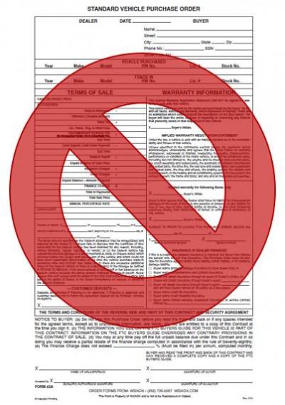 WSIADA discontinues Standard Vehicle Purchase Order (Form 2A) - vehicle purchase order form