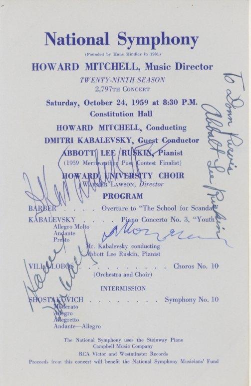 Shostakovich, Dmitri - Signed Concert Program