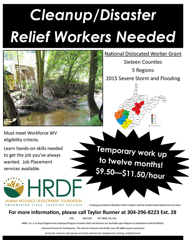 Cleanup/Disaster Relief Workers Needed - Disaster Relief Flyer