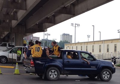 tailgaters entering the gold lot