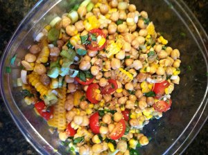 chickpea salad with honey garlic lime vinaigrette