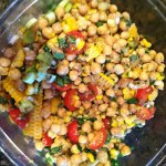 chickpea salad with honey garlic lime vinaigrette