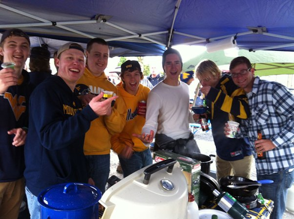 "Our ""adopted"" WVU students at our tailgate"