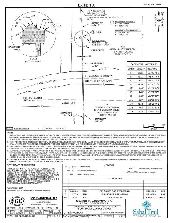 600x776 Crossing Sketch, Sovereign Lands of the State of Florida, in Santa Fe River Crossing, by John S. Quarterman, for WWALS.net, 10 July 2015