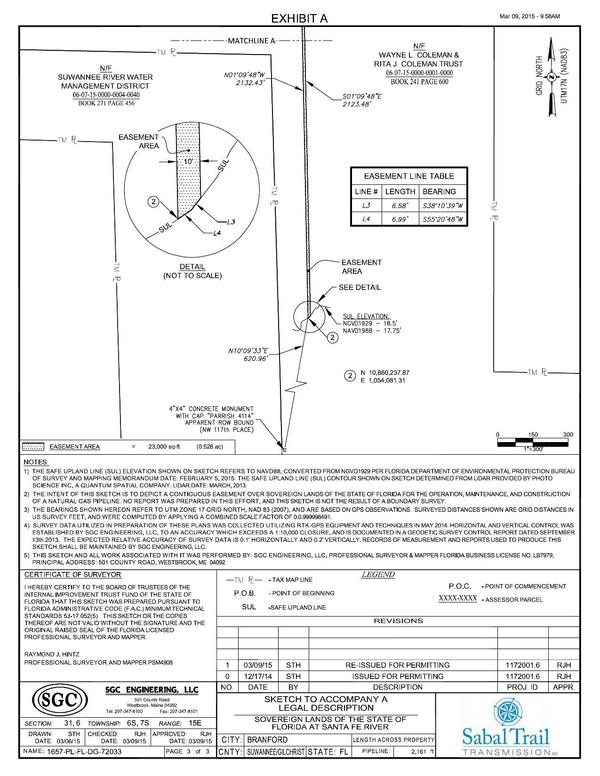 600x776 Safe Upland Line Sketch, Sovereign Lands of the State of Florida, in Santa Fe River Crossing, by John S. Quarterman, for WWALS.net, 10 July 2015