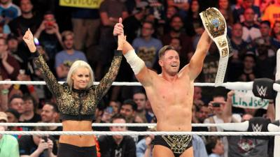 Now five-time Intercontinental Champion, The Miz celebrates with his wife.