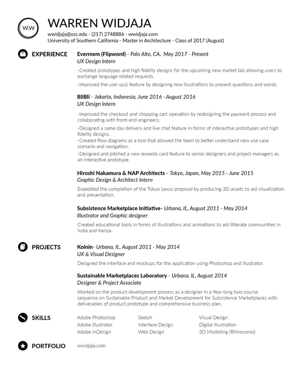 About/Resume - WARREN WIDJAJA - ux design resume