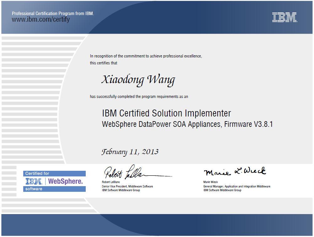 IBM Certificates - datapower resume