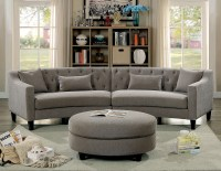 Furniture of America 6370 Rounded grey Tufted Sectional Sofa