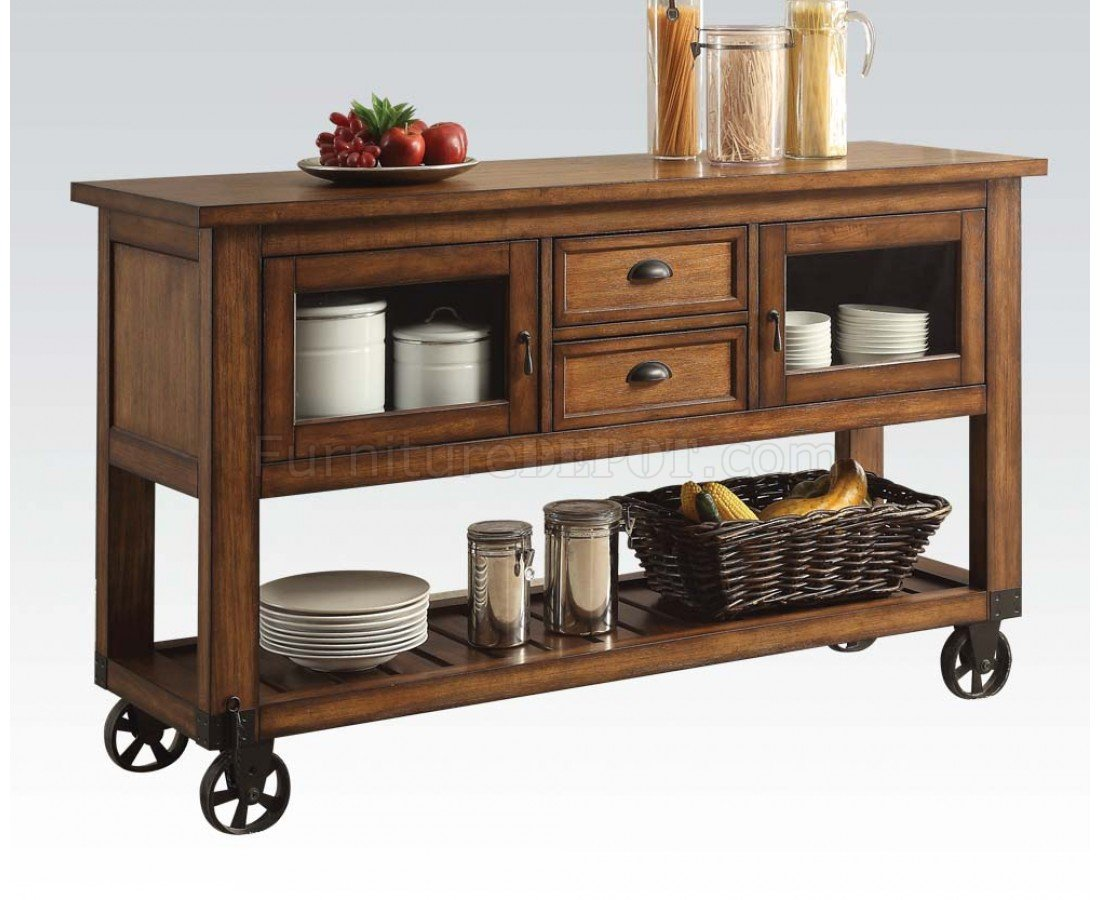 Acme 98180 Spacious Distressed Chestnut Kitchen Cart