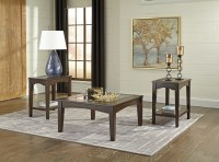 Cronnily T056 by Ashley Coffee Table Set Tempered Glass ...