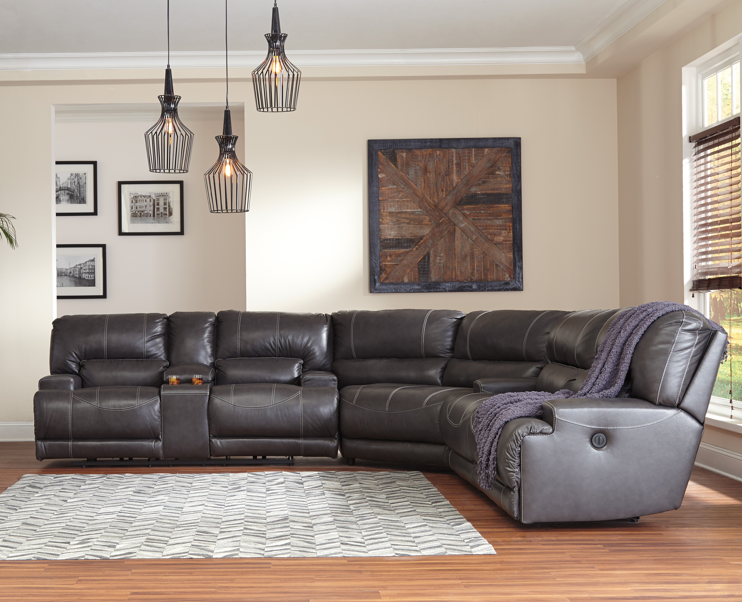 Mccaskill Collection U60900 100 Genuine Leather Sectional