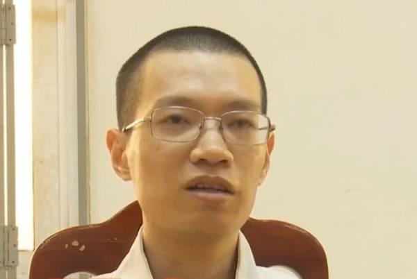 Nghi phạm Nguyễn Anh Tú tại cơ quan công an. Ảnh cắt từ clip truyền hình ANTV