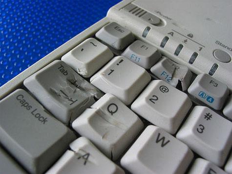 abused laptop keyboard