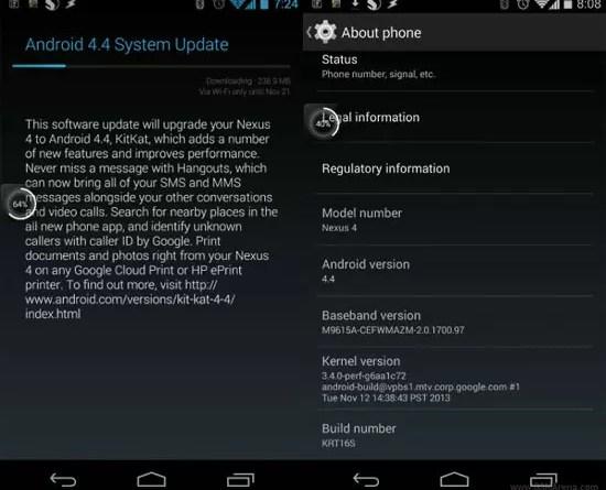 Nexus 4, η αναβάθμιση σε Android 4.4 KitKat ξεκίνησε