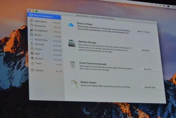Apple macOS Sierra storage