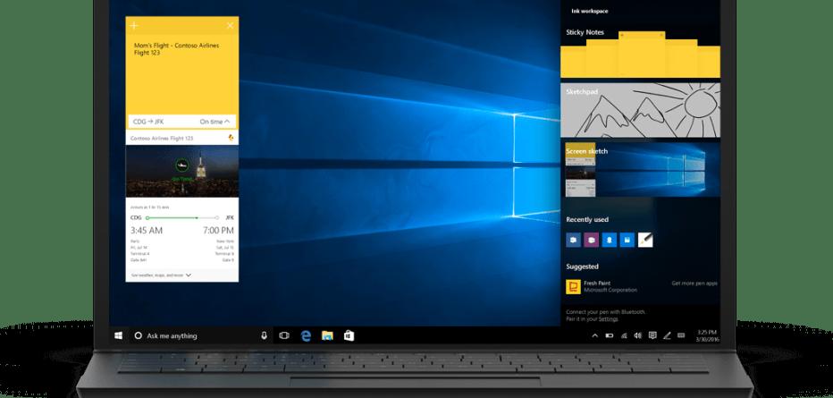 Windows 10 Anniversary Update Sticky notes