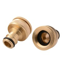 2pcs Water Hose Pipe Tube Fitting Brass Tap Connector Two