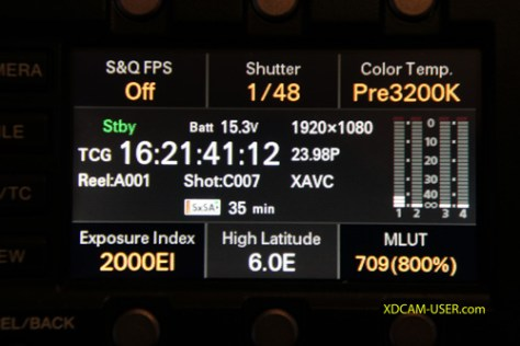 EI-indication Cine-EI Mode when recording S-Log2/3 and raw on the F5 and F55.