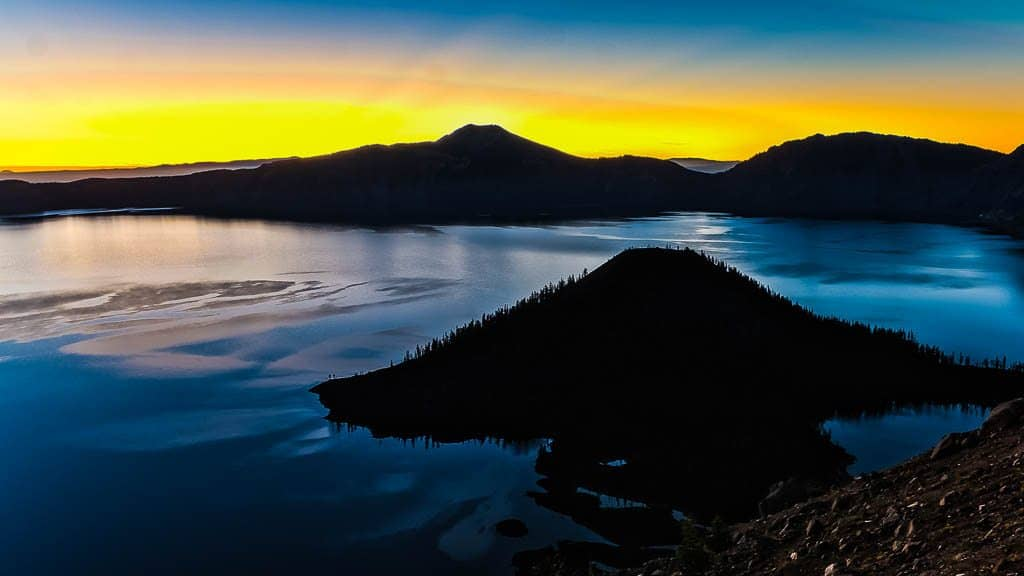 Powerful First View of Golden Rim of Crater Lake