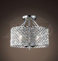 Helina Chrome and Crystal 4-light Round Ceiling Flush ...